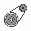 automotive, car, engine, flywheel, plate, power, steel icon
