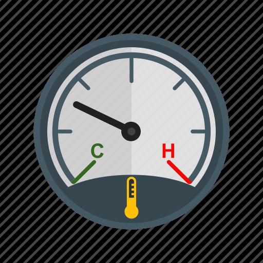 car, dashboard, engine, gauge, speedometer, temperature icon