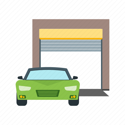 automatic, car, exterior, garage, gate, parking, roof icon