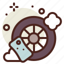 clean, soap, tire, vehicle icon