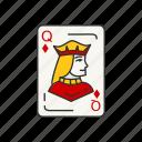 card, card deck, card games, diamonds, games, queen, queen of diamonds icon