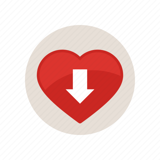 arrow, blood, down, heart, pressure, rate, red icon