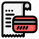 bill, card, payment, receipt icon