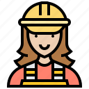commercial, electrician, female, technician, worker icon