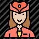 air, attendant, flight, hostess, service icon