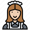 cleaner, housekeeper, housemaid, maid, staff icon
