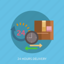 arrow, box, cargo, clock, delivery, time icon
