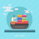 boat, cargo, container, delivery, sea, ship, transport icon