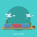 cargo, container, delivery, desert, rail, train, transport icon