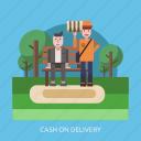 cargo, cash, cod, delivery, garden, people icon