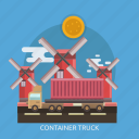 cargo, container, delivery, street, transport, truck, windmill