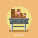 bearer, box, cargo, conveyor, delivery, machine icon