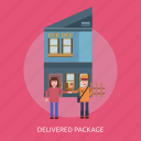 cargo, deal, delivery, goods, house, package, people icon