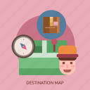 cargo, compass, delivery, derstination, map, package, sender icon