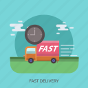 car, cargo, delivery, fast, time, transport, truck icon