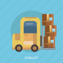 box, cargo, delivey, forklift, package, transport icon
