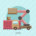 box, cargo, container, delivery, lifter, package, transport icon