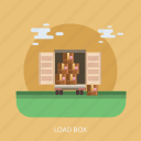 box, delivery, load, package, transport, truck icon