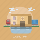 building, cargo, delivery, logistic, rail, train icon