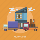 cargo, delivery, house, move, out, transport, truck icon