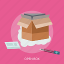 box, delivery, open, package