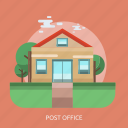building, delivery, office, post, tree icon