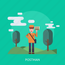hill, man, package, people, post, postman icon