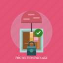 box, cargo, delivery, package, padlock, protection icon
