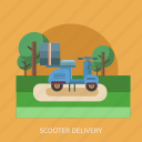cargo, delivery, package, scooter, transport icon
