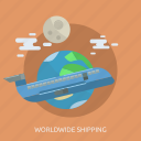 earth, moon, plane, shopping, transport, world, worldwid icon