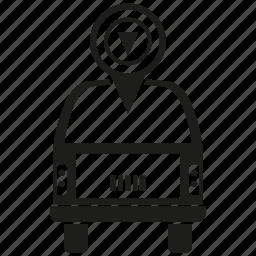 car, pin, track, van icon