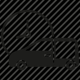 car, clock, delivery, van icon