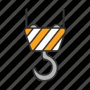 cargo, crane, elevator, hoist, hook, machinery, rope lift icon