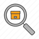 delivery, explore, logistics, package, parcel, search, tracking icon