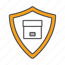 box, delivery, package, parcel, protection, shield, shipping icon