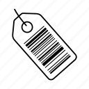 bar, bar code, barcode, id, label, number, tag icon