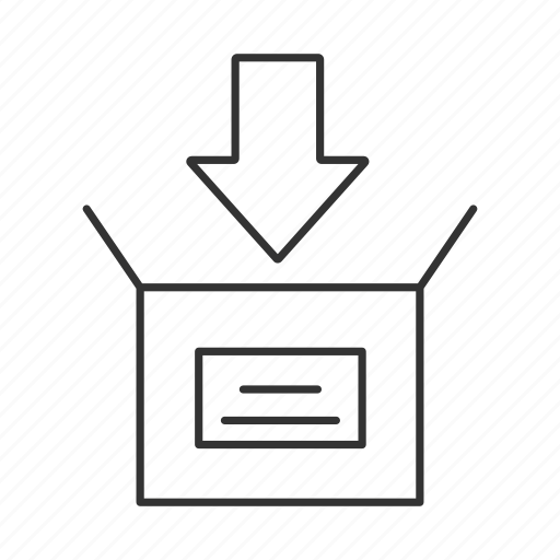 arrow, box, insert, package, packing, parcel, post icon