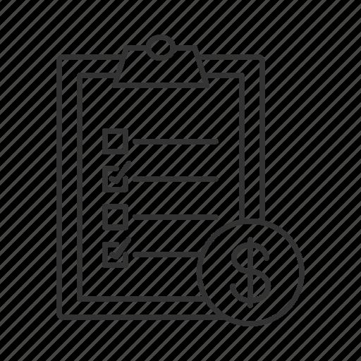 bill, checklist, checkmark, dollar, invoice, paper, sheet icon