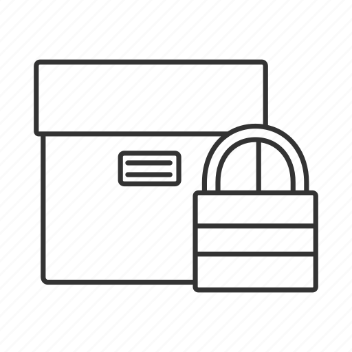 box, delivery, package, padlock, parcel, security, shipping icon