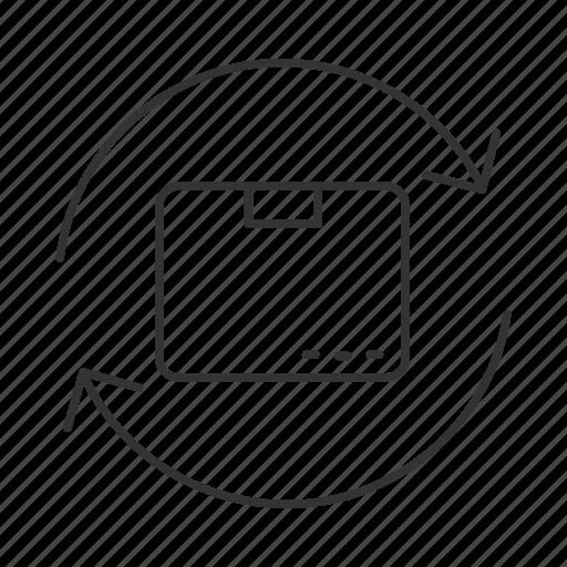 arrow, box, package, parcel, repackaging, resend, return icon