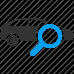 exam vehicle, explore concept, find auto, search automobile, test machine, transport, view car icon