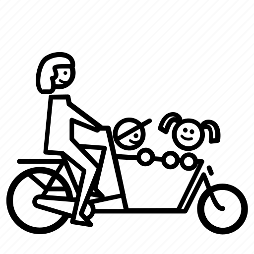 bakfiets, bike, carrier, childeren, cyclist, kids, mother icon