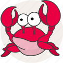 animals, aquatic creatures, cartoon, cartoon crab, crab, river, sea icon