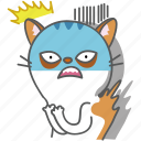 cartoon, cat, character, emoji, emoticon, scared, shocked icon