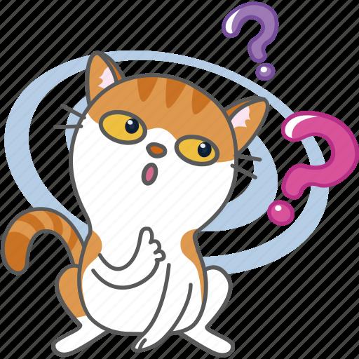 cartoon, cat, character, kitten, kitty, question, wondering icon