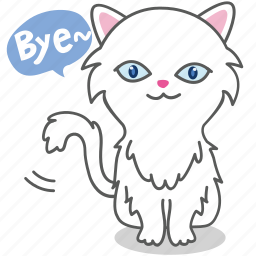 bye, cartoon, cat, character, emoji, emoticon, kitty icon