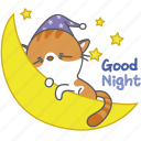 cartoon, cat, character, good, kitten, kitty, night icon