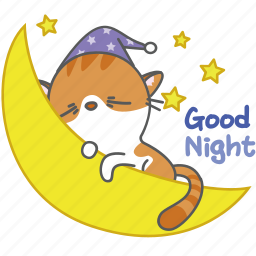 cartoon, cat, character, good, kitten, kitty, night icon