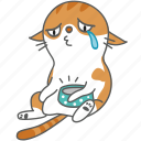 cartoon, cat, character, hungry, kitten, kitty, sad icon