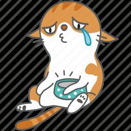 cartoon, cat, character, hungry, kitten, kitty, sad icon